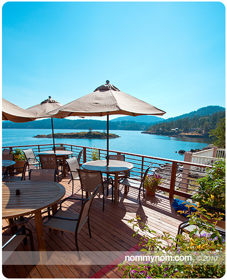 The outdoor dining at Allium Restaurant on Orcas Island